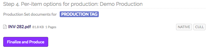Step 4. Per-item options for production: