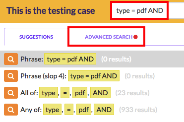 type 'AND' and click on the Advanced Search tab