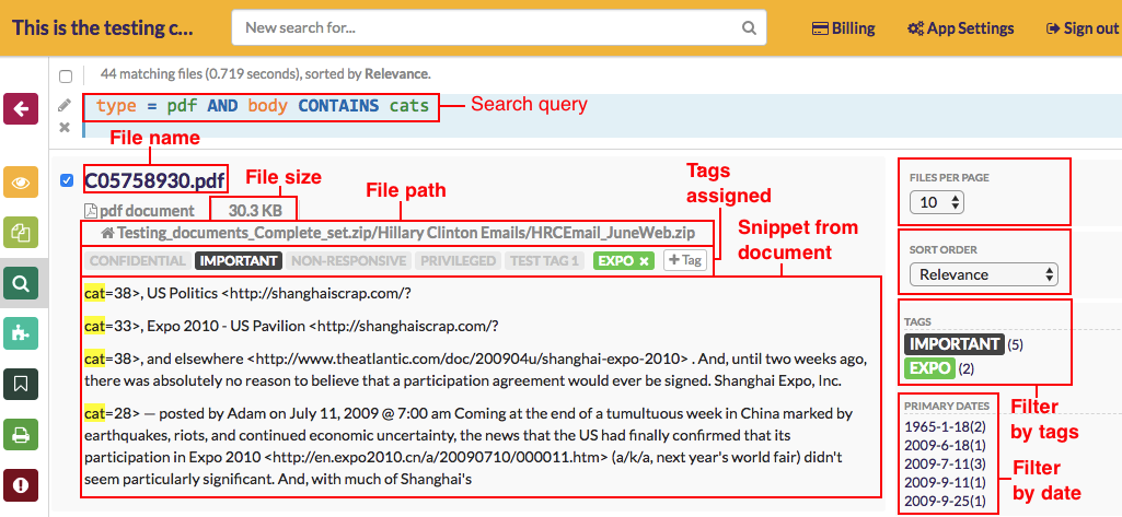 Summary of your search results