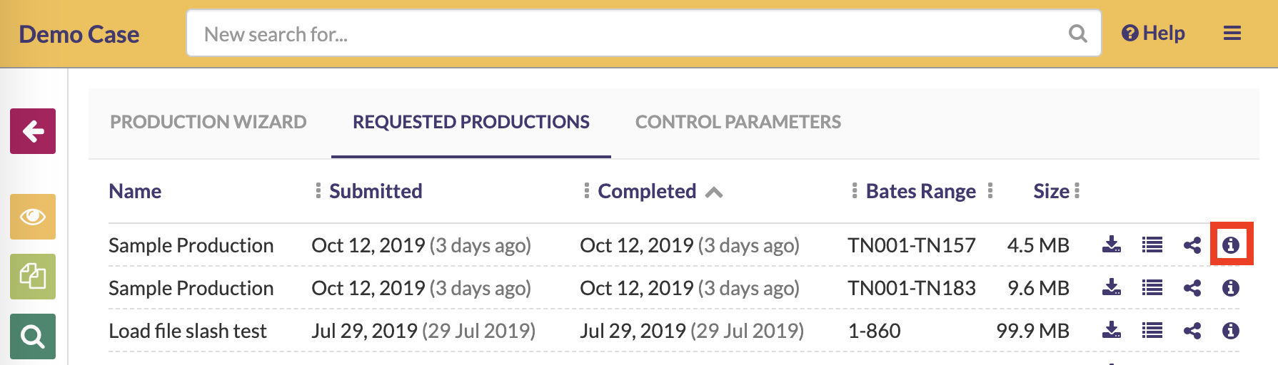 Click on the information button to view your production's parameter summary