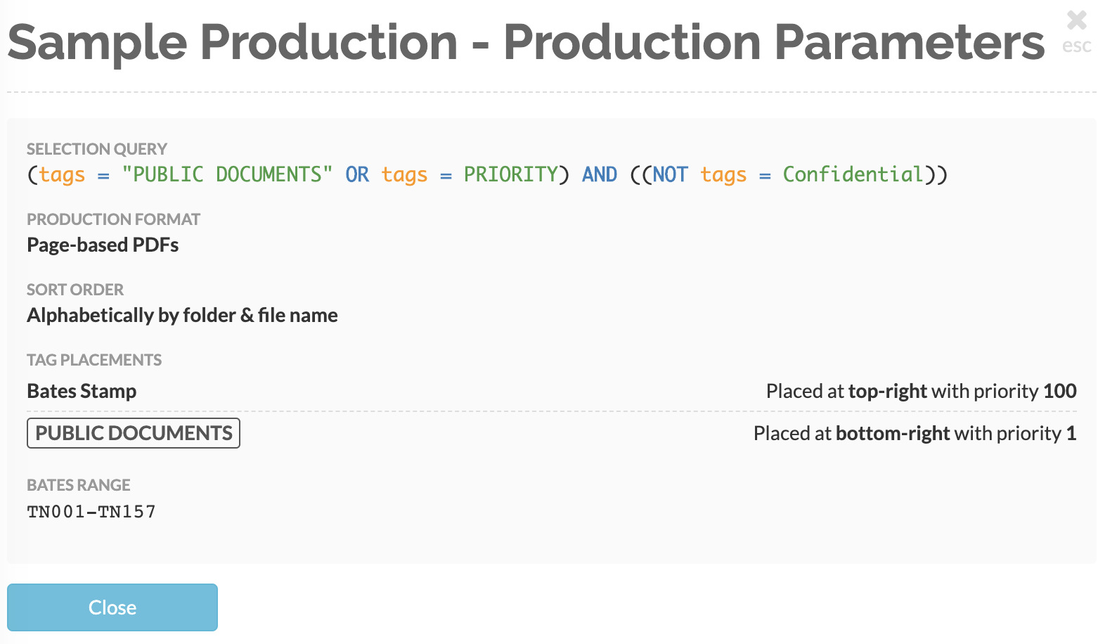 View your production's parameter summary