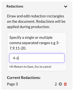 Select pages and page ranges to redact