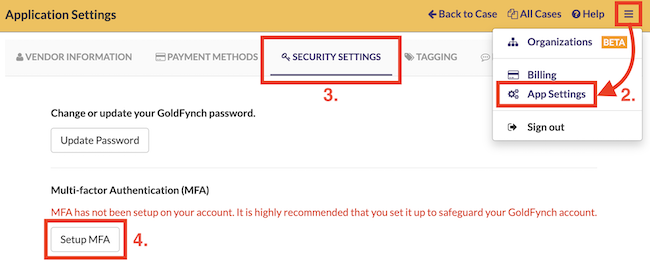 Navigate to the security setting screen and click on Setup MFA