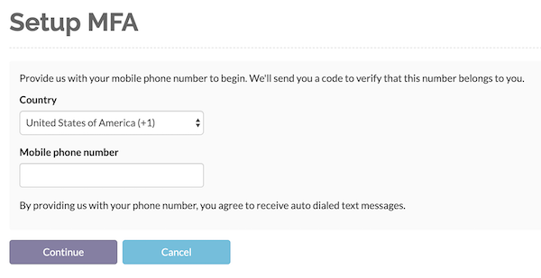 Enter a valid phone number to receive a validation code through
