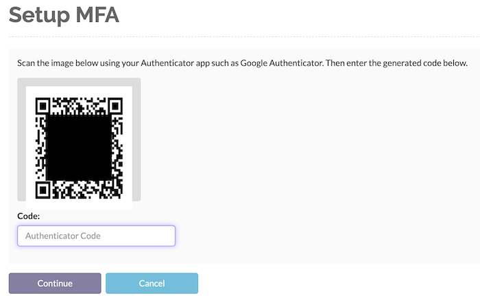 After installing the authenticator, scan the QR code and enter the authenticator code that your authenticator generates