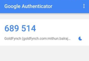 An example of the Google Authenticator code that is generated
