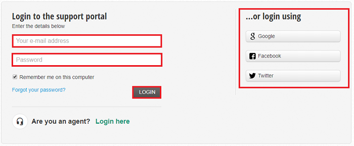 Enter login information